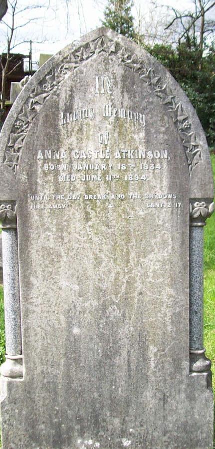 The grave stone of Anna Castle Atkinson