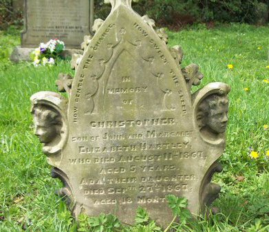 The grave stone of Christopher Hartley