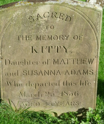 The grave stone of the Adams family