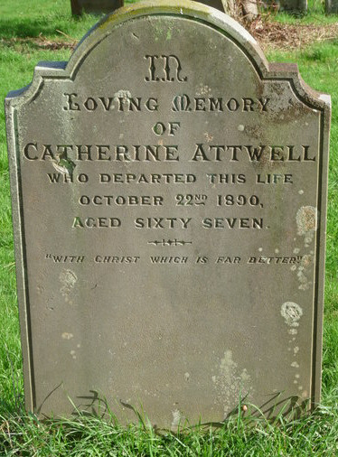 The grave stone of Catherine Attwell