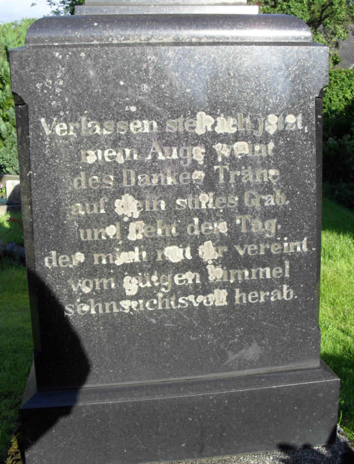 A grave stone in the cemetery of St Johannes