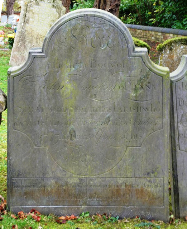 A grave stone in the cemetery of St Thomas's Church