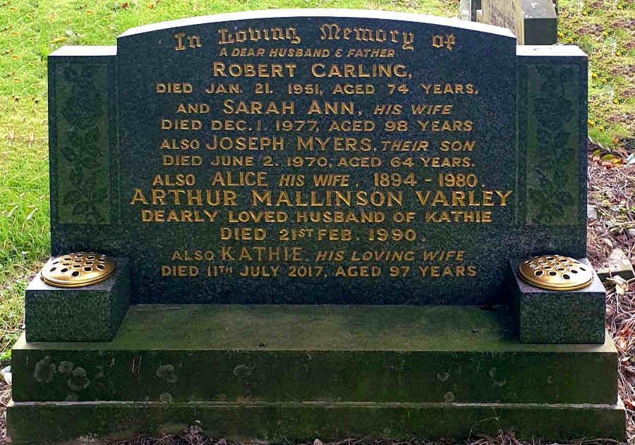 Grave of Robert and Sarah Ann Carling