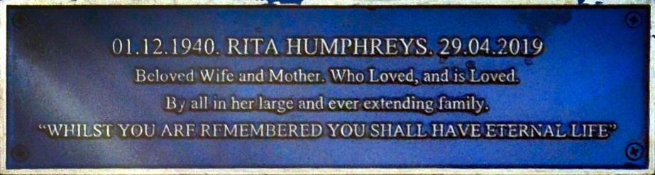 Plaque Rita Humphreys