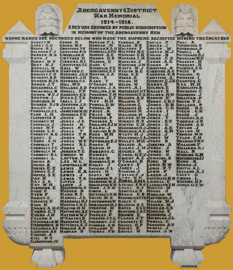 War Memorial Panel - Names 1914-1918