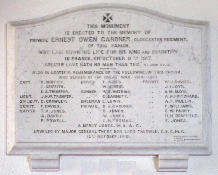 Memorial Panel - St. Peter's Church