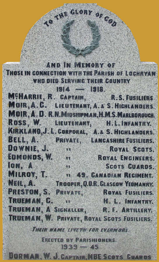 Names 1914-1919 and 1939-1945