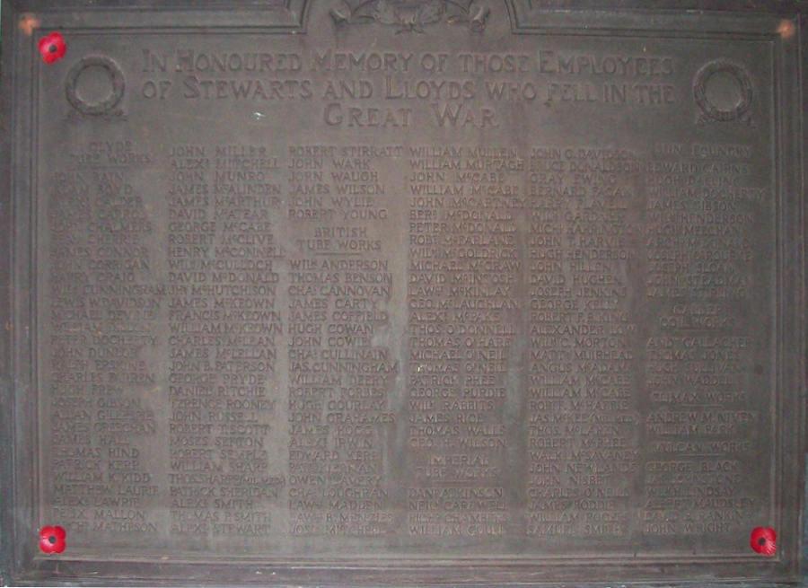 War Memorial Panel - Coatsbridge, Summerlee Industrial Museum