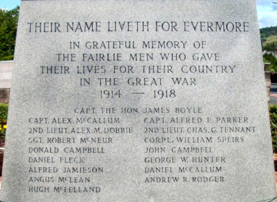 Inscription and names WW I