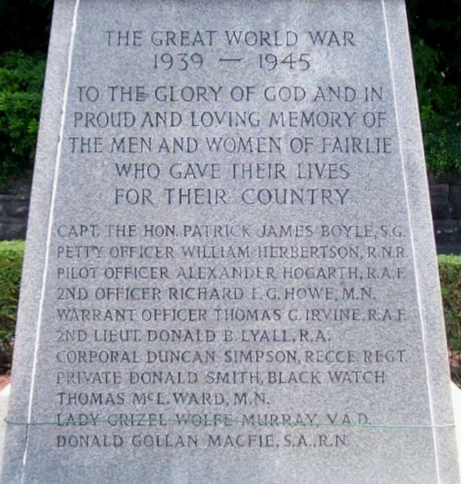 Inscription and names WW II
