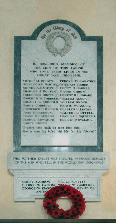 Memorial panel WW I and WW II