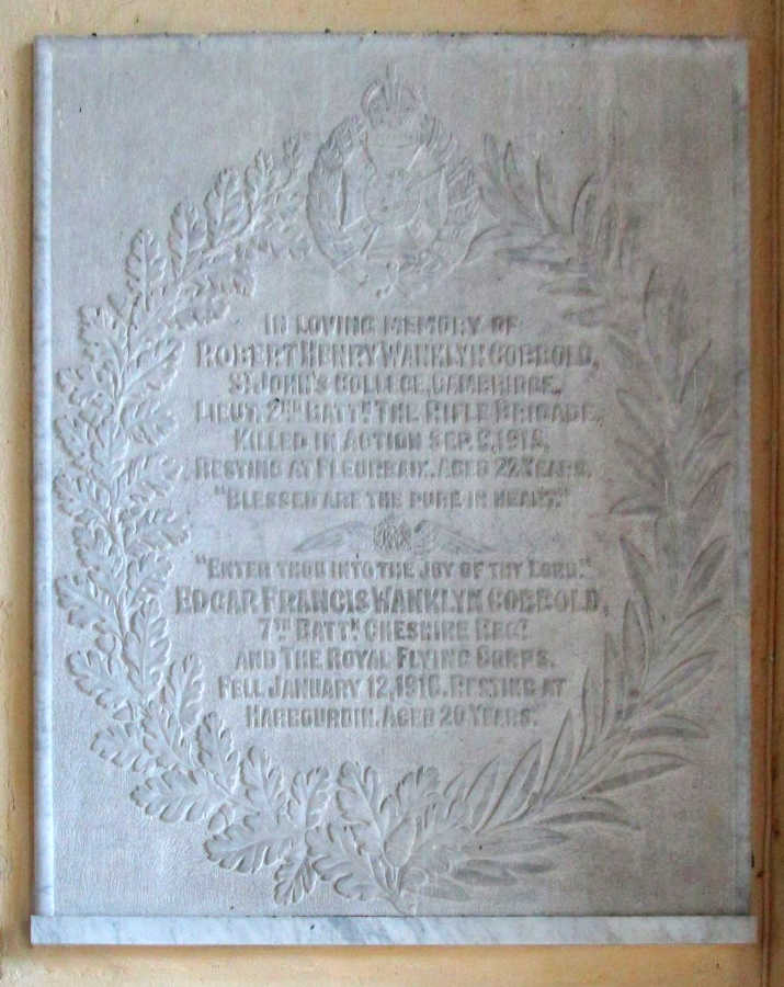 Memorial panel Cobbold family
