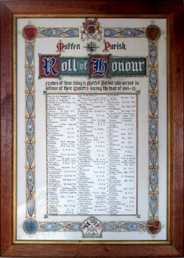 Roll of Honour WW I