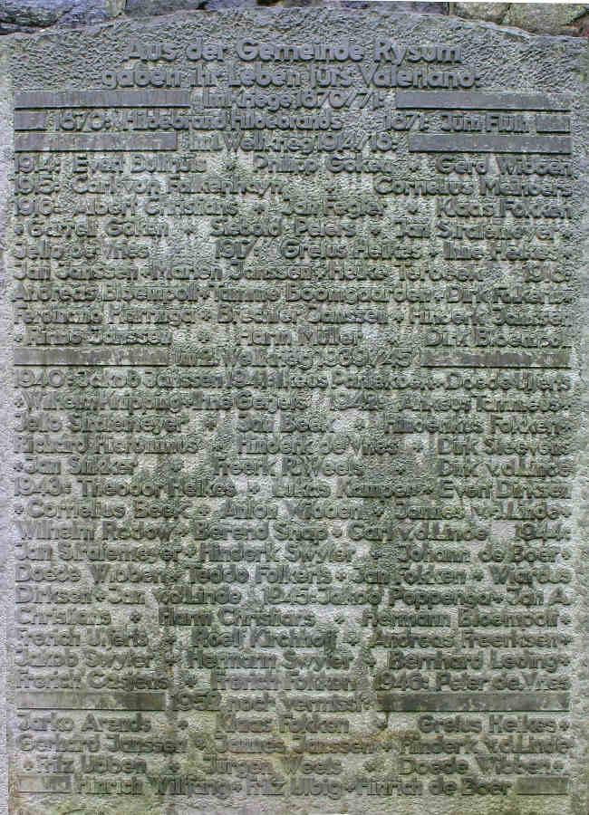 War Memorial - Rysum, Aurich, Lower Saxony, Germany