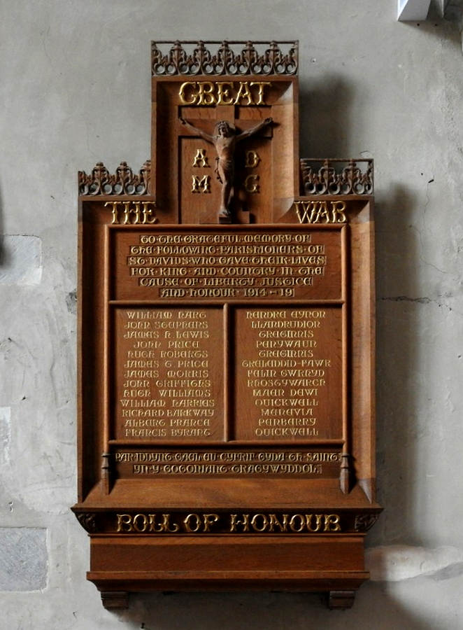 War Memorial - St. David's Cathedral, St. Davids, Pembrokeshire, Wales