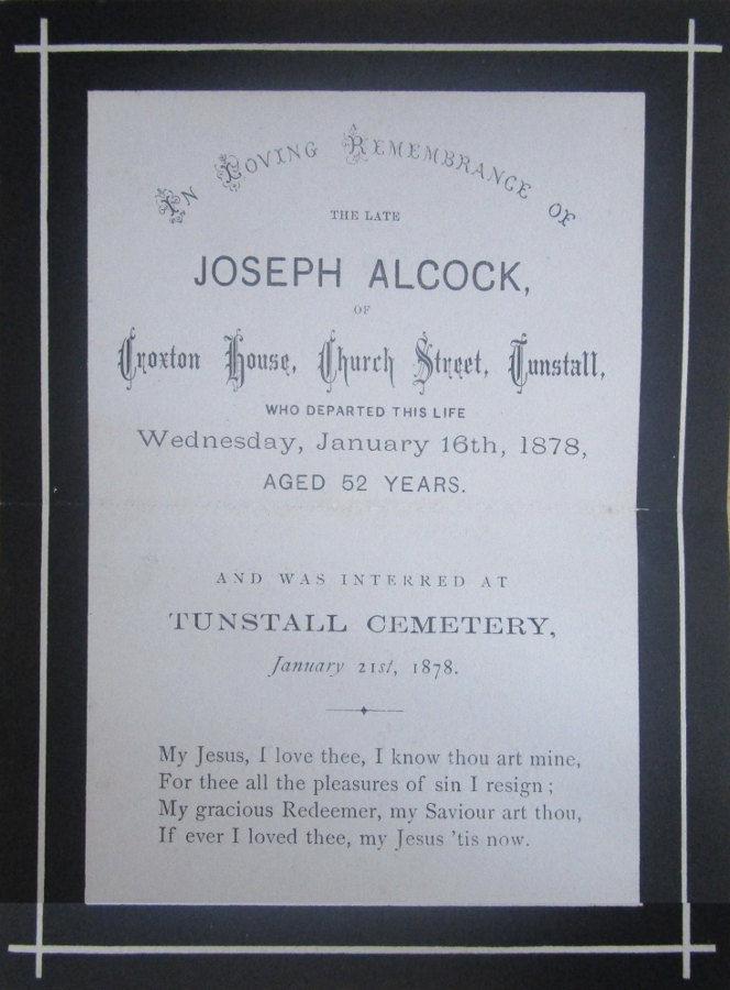 Memorial Card - Joseph Alcock