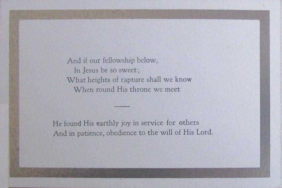 Memorial Card - Thomas Allen
