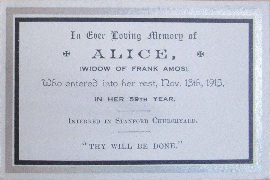 Memorial Card - Alice Amos