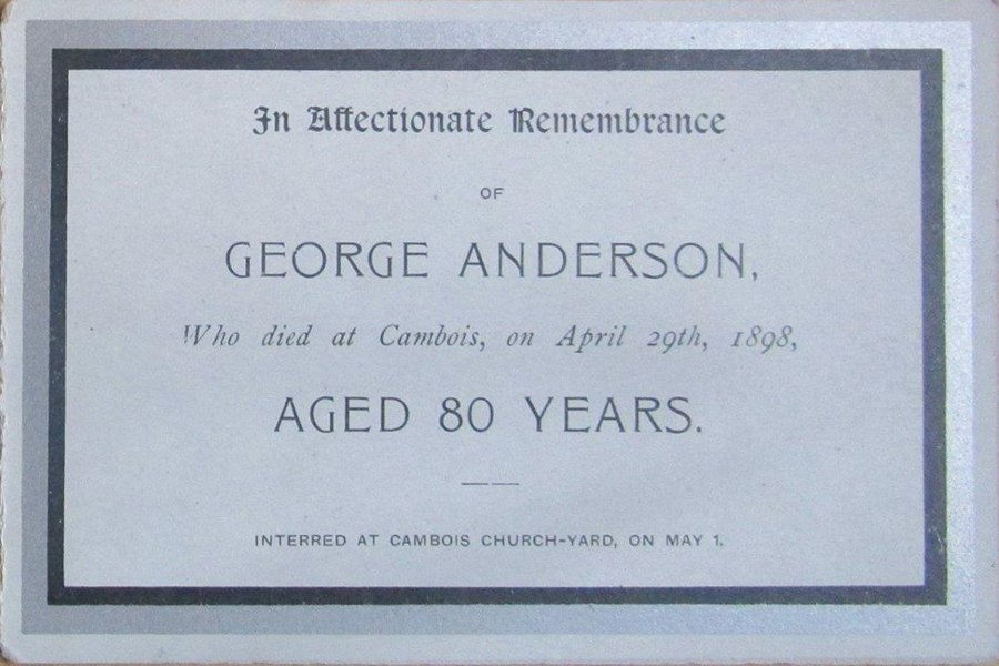 Memorial Card - George Anderson