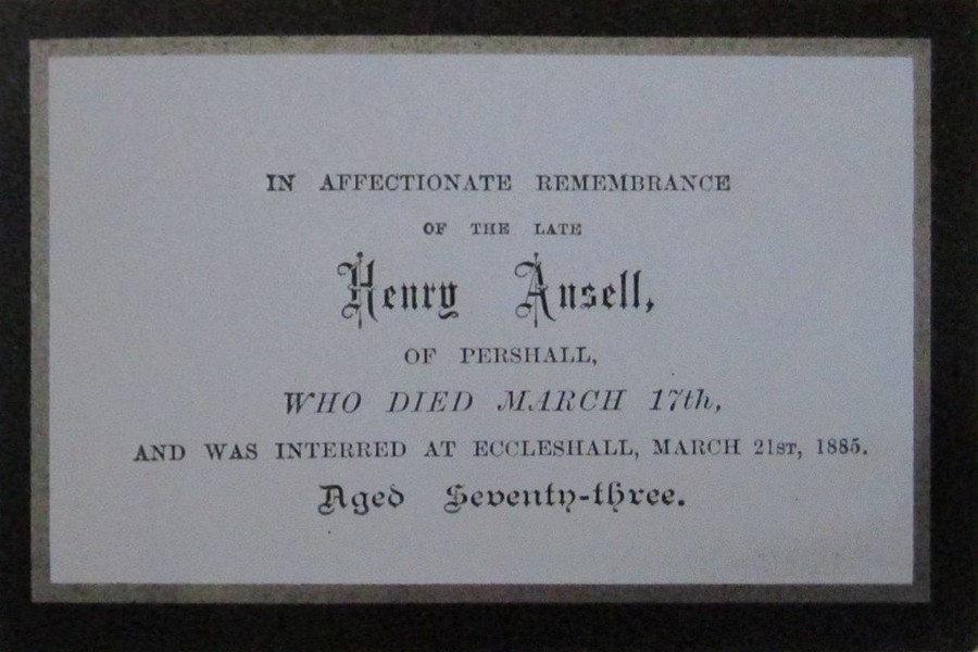 Memorial Card - Henry Ansell