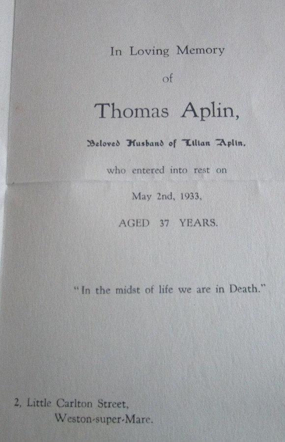 Memorial Card - Thomas Aplin
