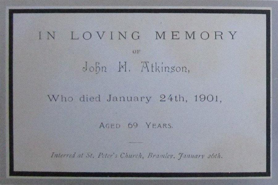 Memorial Card - John H. Atkinson