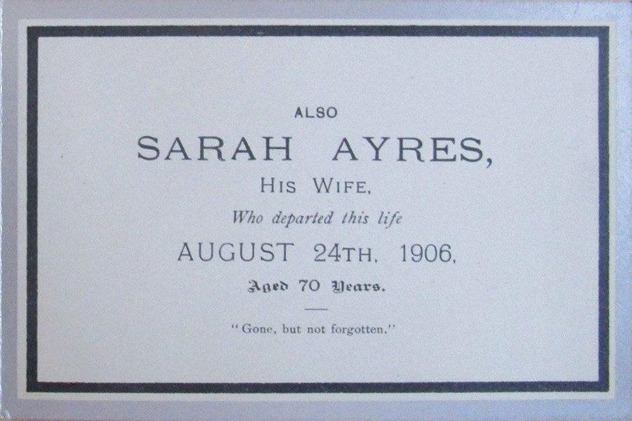 Memorial Card - Sarah Ayres