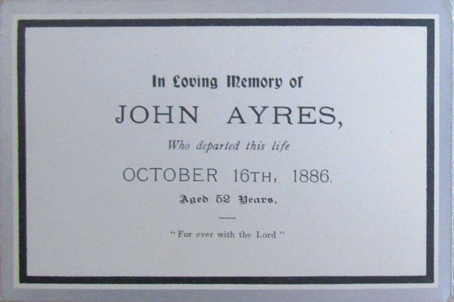 Memorial Card - John Ayres