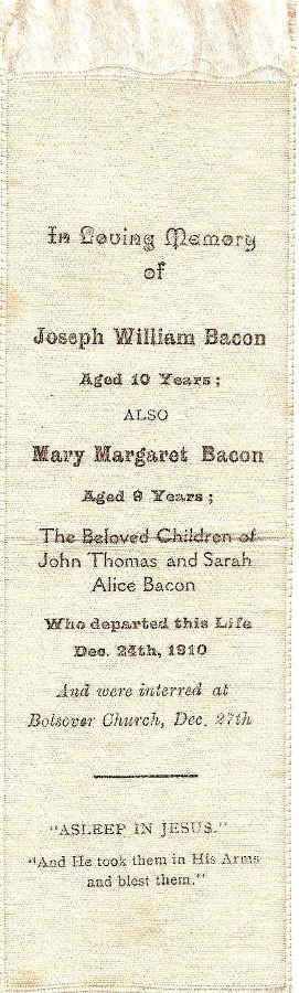 Memorial Card - Joseph William and Mary Margaret Bacon