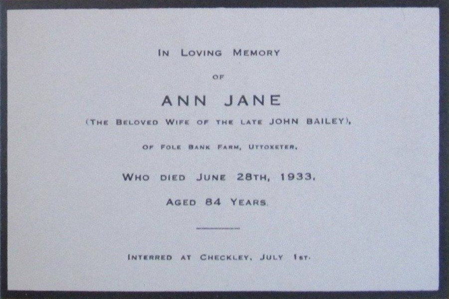 Memorial Card - Ann Jane Bailey