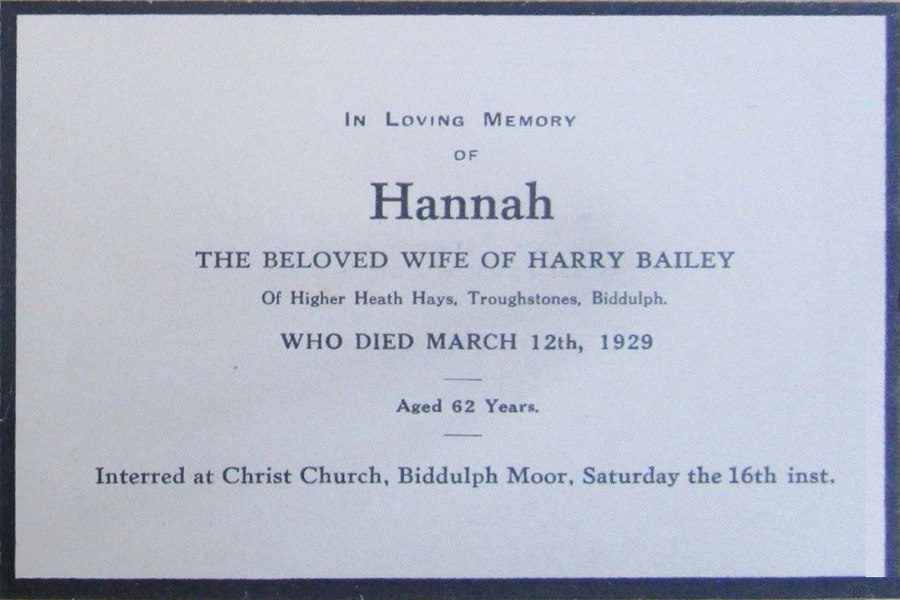 Memorial Card - Hannah Bailey