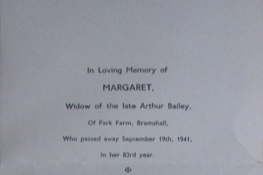 Memorial Card - Margaret Bailey