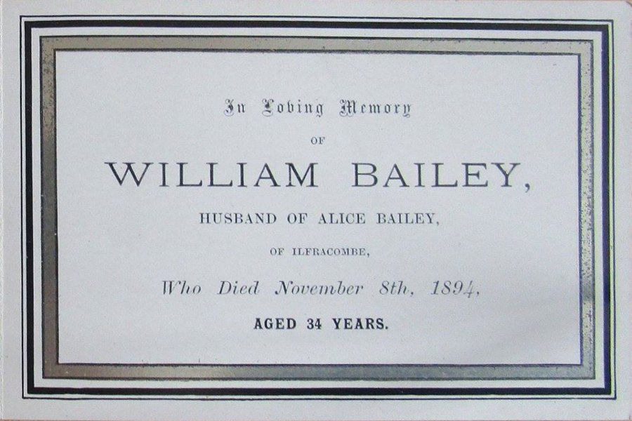 Memorial Card - William Bailey