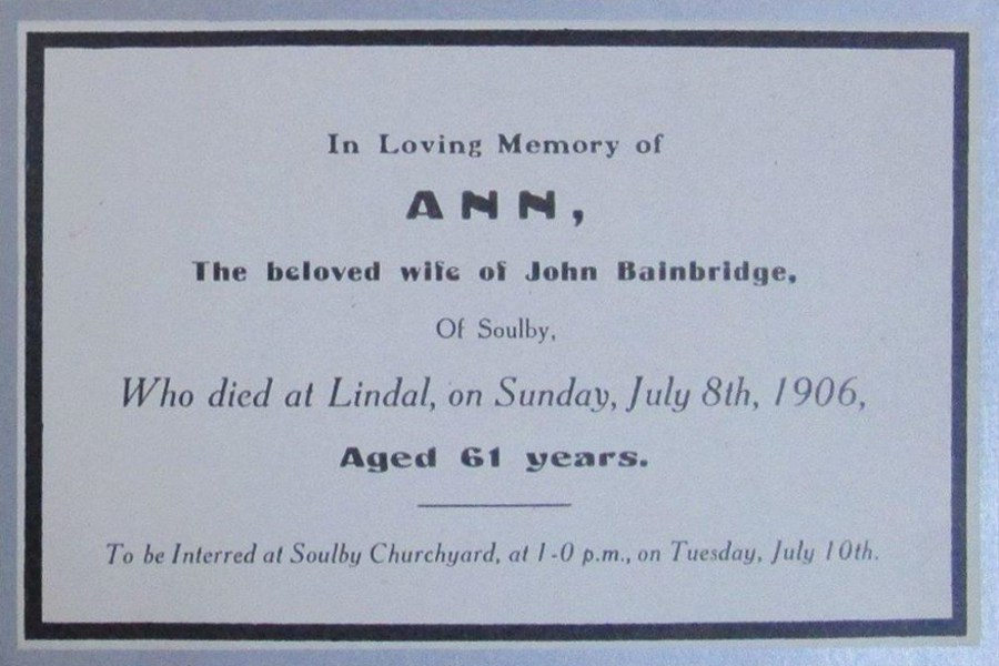 Memorial Card - Ann Bainbridge