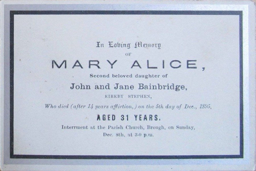 Memorial Card - Mary Alice Bainbridge