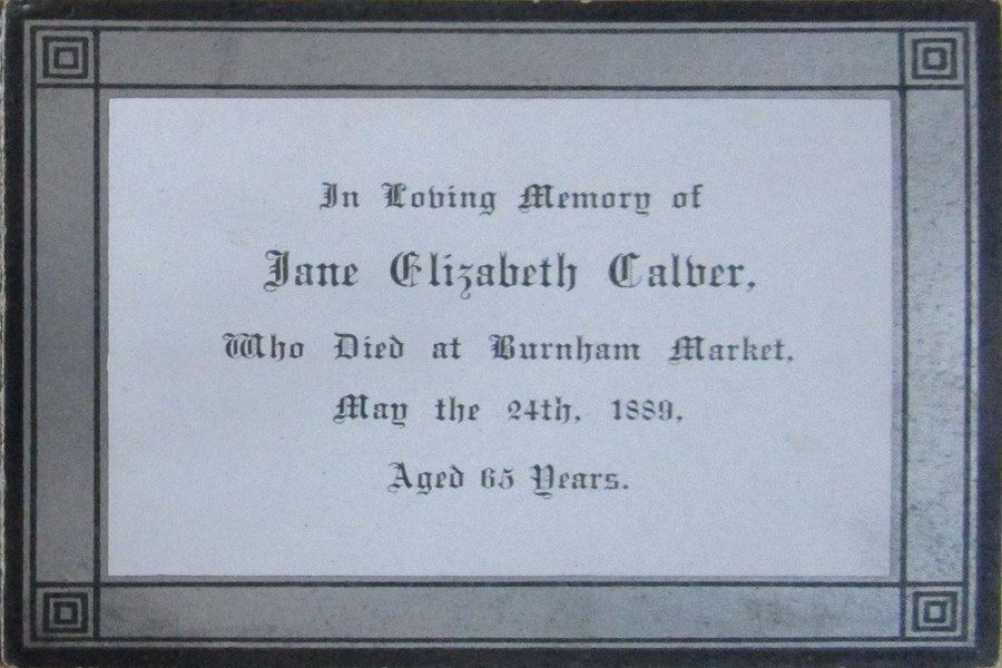 Memorial Card - Jane Elizabeth Calver