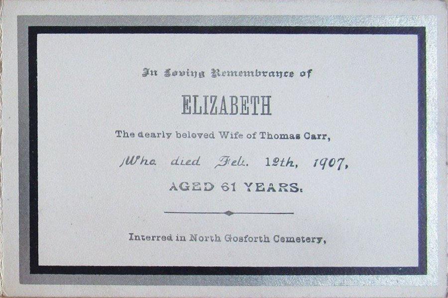 Memorial Card - Elizabeth Carr