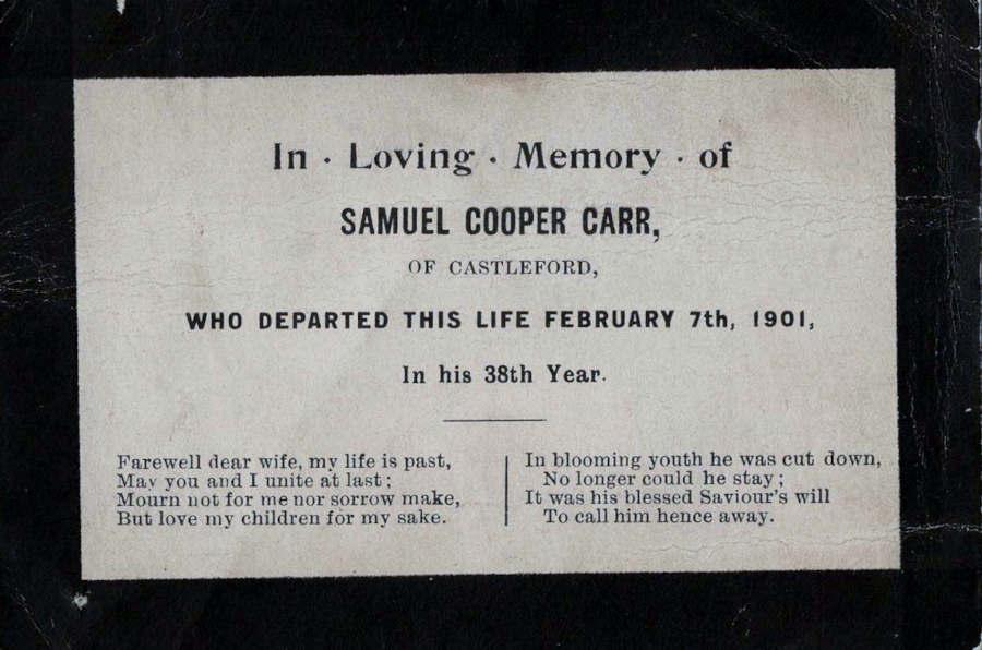 Memorial Card - Samuel Cooper Carr