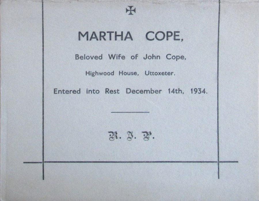 Memorial Card - Martha Cope