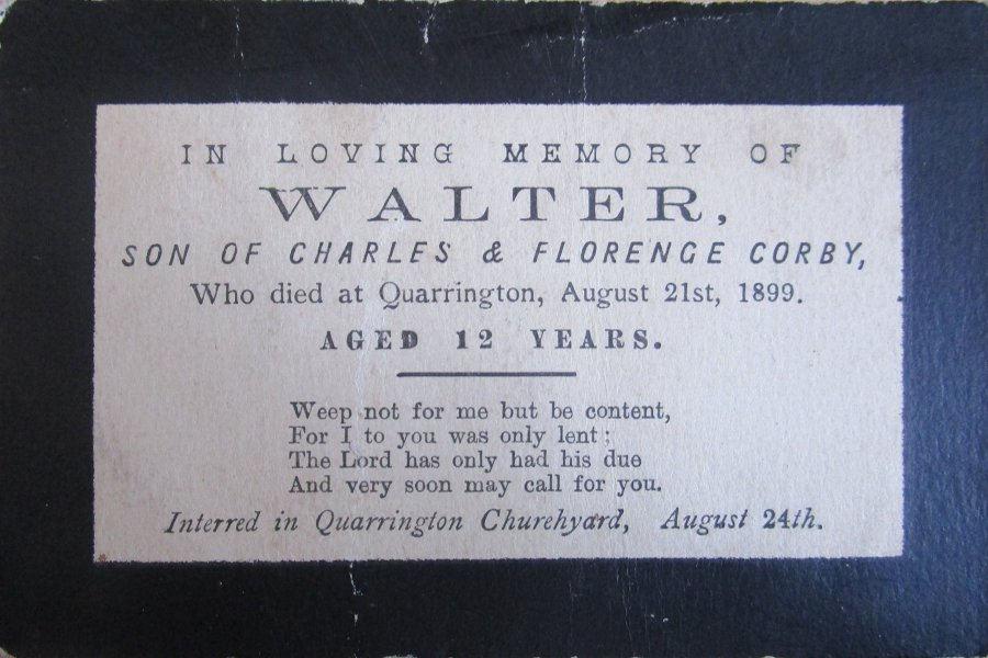 Memorial Card - Walter Corby