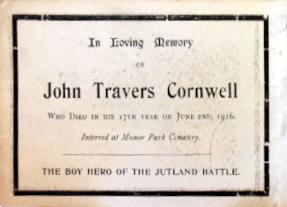 Memorial Card - John Travers Cornwell