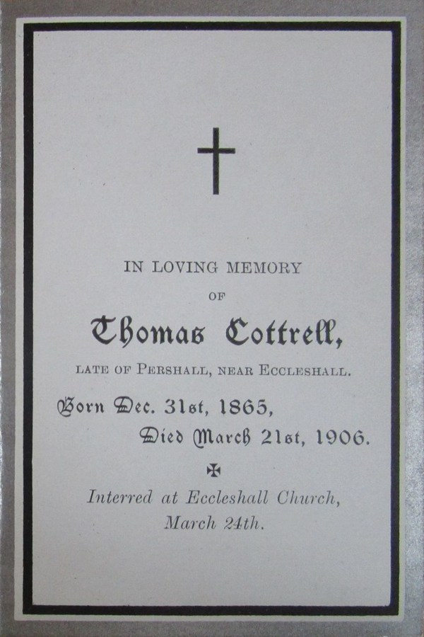Memorial Card - Thomas Cottrell