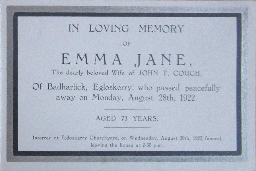 Memorial Card - Emma Jane Couch