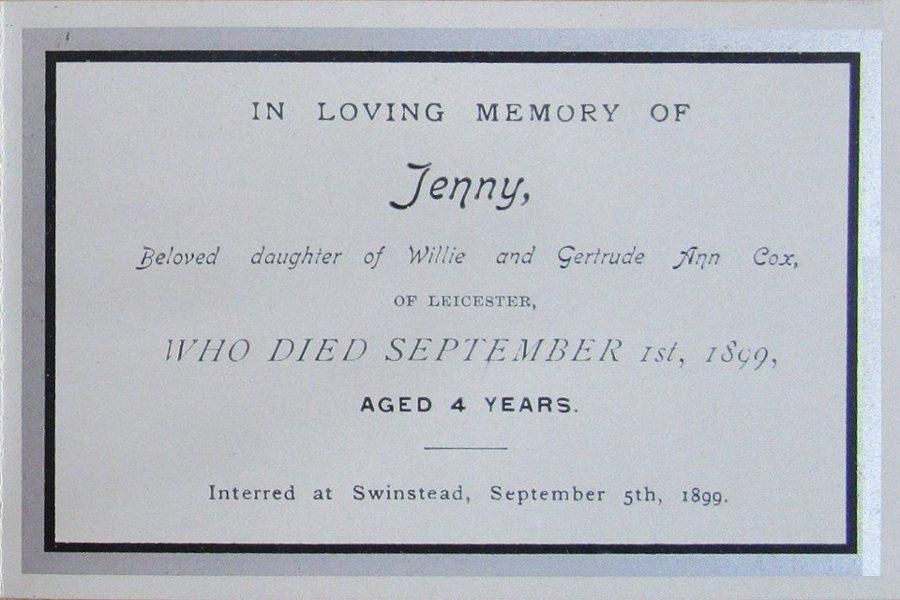 Memorial Card - Jenny Cox