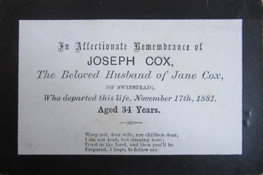 Memorial Card - Joseph Cox