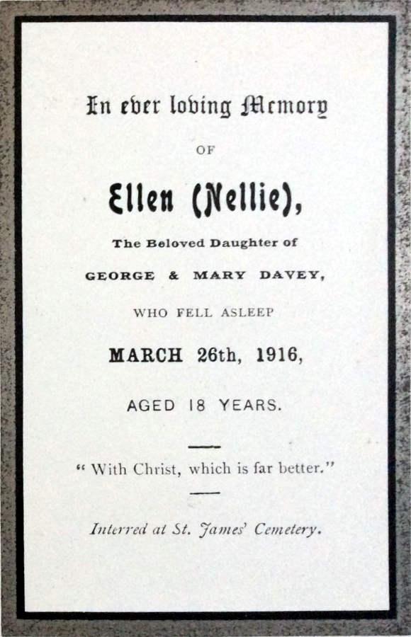 Memorial Card - Ellen Davey