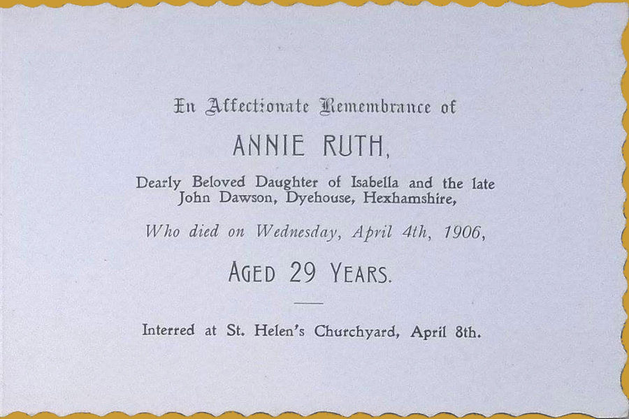 Memorial Card - Annie Ruth Dawson