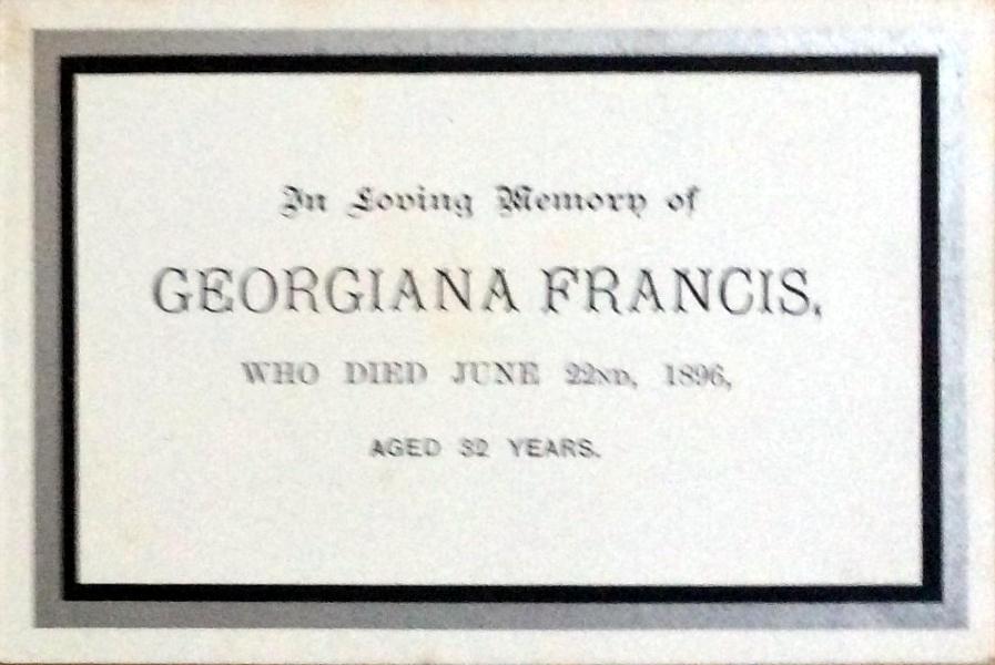 Memorial Card - Georgiana Francis