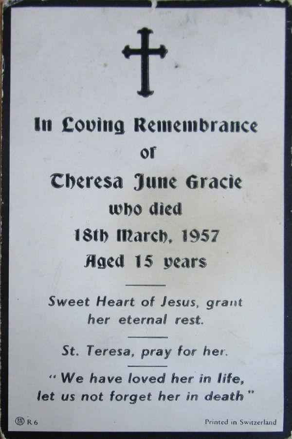 Memorial Card - Theresa June Gracie