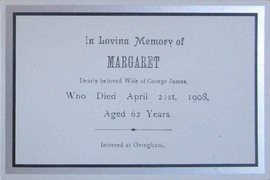 Memorial Card - Margaret James